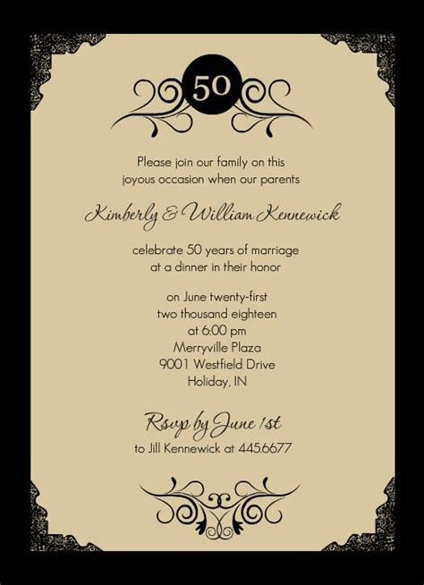 Invitation Letter For 50th Wedding Anniversary 25 Best Ideas About Anniversary Invitations On