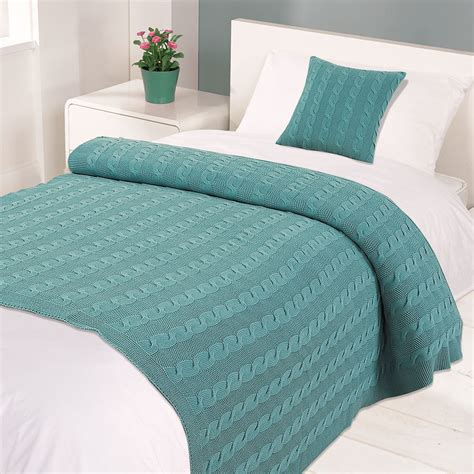 warm blankets for bed highams 100 cotton woven cable knitted warm bed blanket