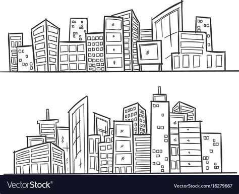 city background drawing drawing city on white background vector image