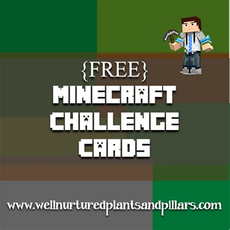 Minecraft Free Gift Card - free printable minecraft challenge cards plants and pillars