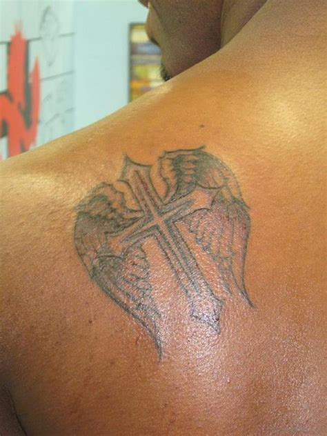 small tattoo back 98 best cross with wings tattoos for back