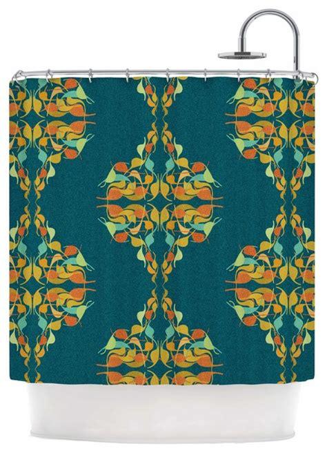 orange and teal shower curtain dan sekanwagi quot turquoise feast quot teal orange shower curtain