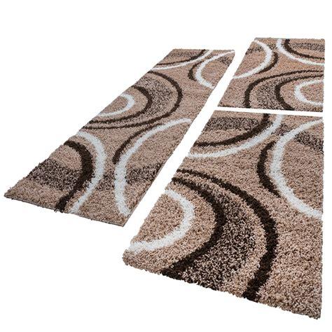 bettumrandung teppich bettumrandung l 228 ufer shaggy hochflor teppich muster braun