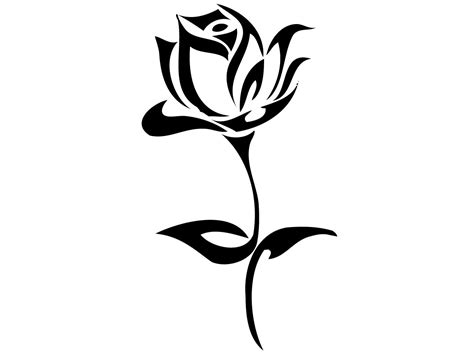 rose tattoo template black and white outline clipart panda free
