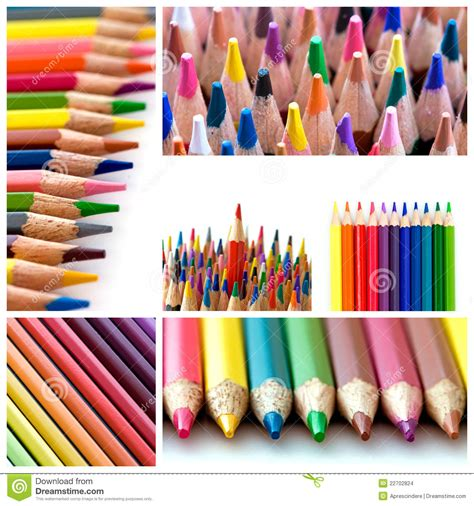 colorful pencils and office supplies collage stock photo color pencils collage stock images image 22702824