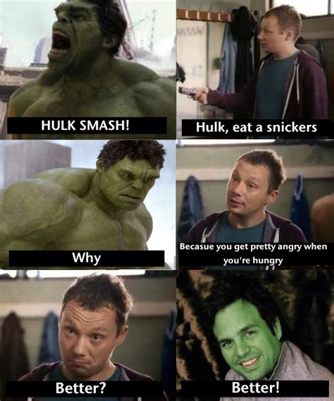 Memes Snickers - hulk eats snickers snickers quot hungry quot commercials know