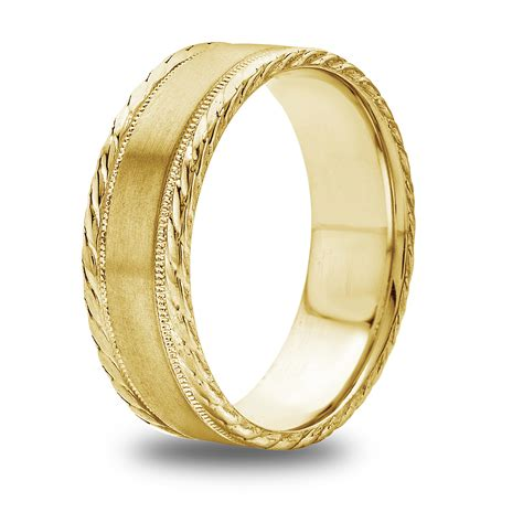 14k 18k white or yellow gold rope and milgrain design mens