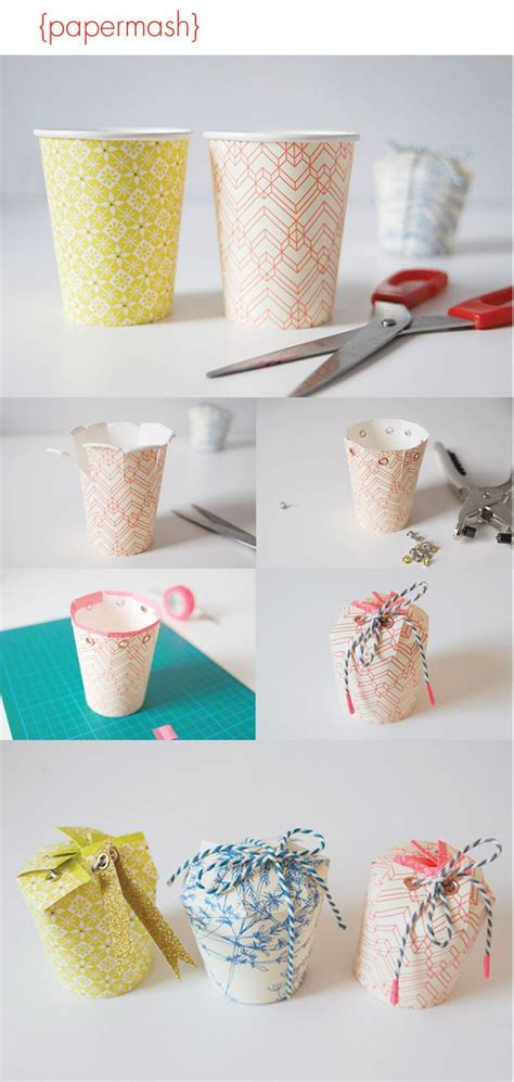 Paper Craft Gifts - paper cup gift box diy crafts