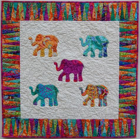 Elephant Quilt Patterns by Bright Appliqued Elephant Quilt By Sunbury On Etsy