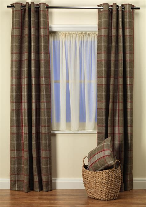 red brown curtains highland check red brown curtains from net curtains direct