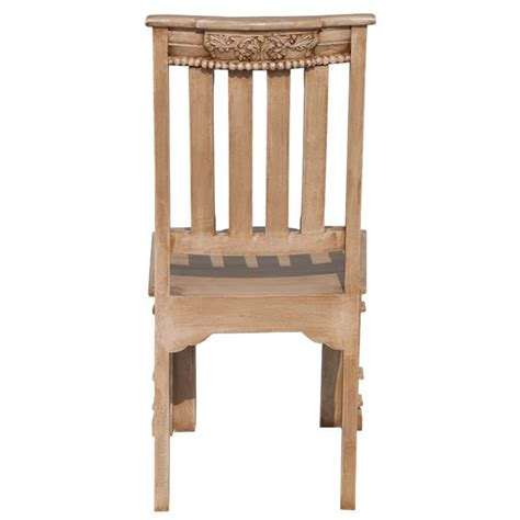 pillar carved mango wood dining chair set of two