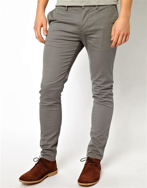 Uniqlo S001 White Lable Grey Wash lyst asos chinos in gray for