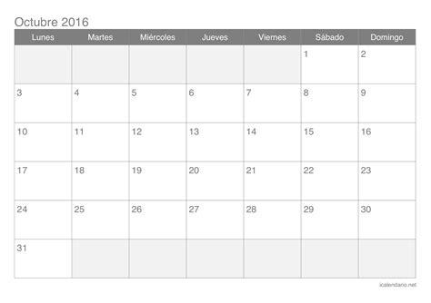 Calendario Mes Calendario Octubre 2016 Para Imprimir Icalendario Net