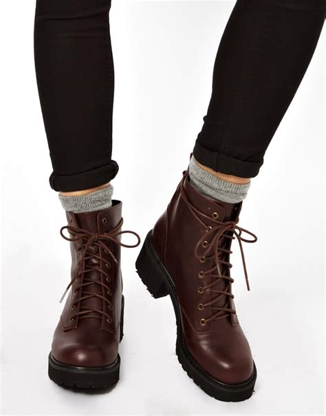 tie up boots asos apart lace up ankle boots in brown lyst