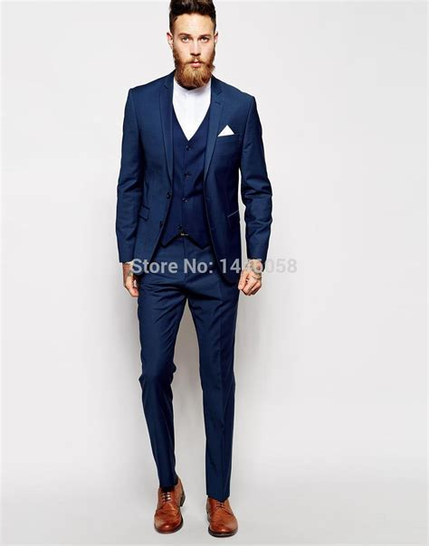 Best Selling 2016 Custom Made Blue Men Tuxedos Formal Suit