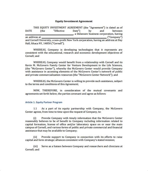 Business Equity Agreement Template 11 Investment Contract Templates Free Word Pdf Documents Download Free Premium Templates