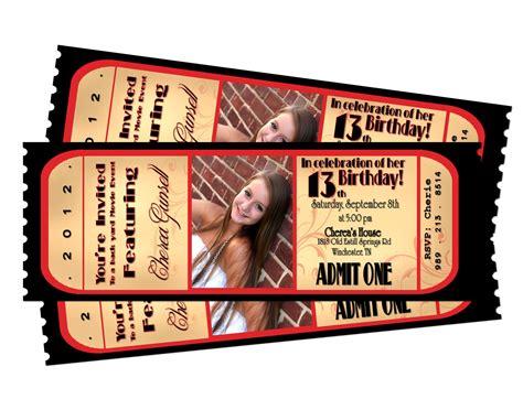movie night ticket birthday printable invitation by sarahmkey