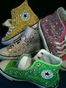 Bedazzled Boots And Sparkly Surgical Shoes Sparkly High Top Converse Shoes Receptions
