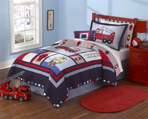 boy bedding twin cars bedding fire truck and police car quilt sets for kids and toddlers