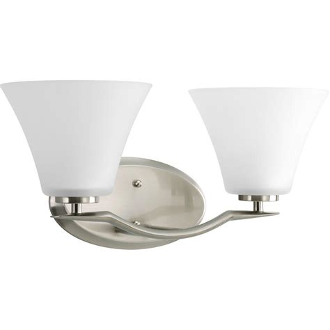 2 Light Vanity Fixture Progress Lighting Bravo Collection 2 Light Brushed Nickel Vanity Fixture P2005 09 The Home Depot