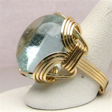 gold wire rings 14 kt gold aqua wire wrapped ring by jandsgems on deviantart