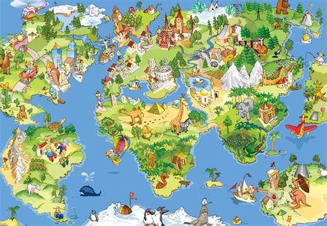 map world mouments world map with monuments and animals children s