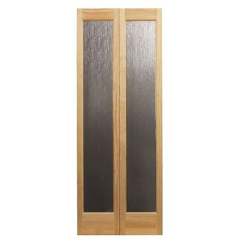 32 Bifold Closet Doors Pinecroft 32 In X 80 In Decorative Glass Wood Pine Interior Bi Fold Door 873928 The