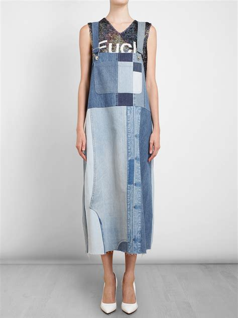 jeans dress pattern lyst ashish oversized patchwork denim dress in blue