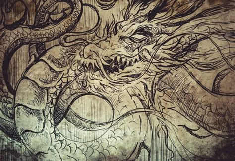 japanese dragon tattoo sketch handmade design over