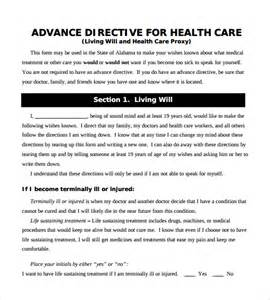 advance care directive template advance directive form 9 free sles exles format