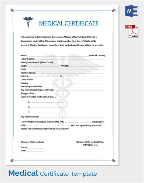 doctor certificate template sle certificate 33 documents in pdf