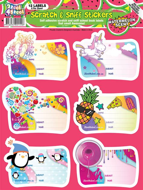 sticker book template watermelon scratch n sniff labels