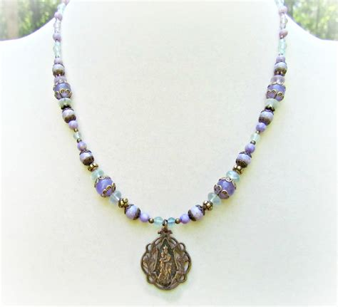 Handmade Rosary Necklace - catholic jewelry handmade with vintage medals rosary necklace