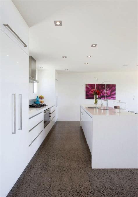 White Kitchen Concrete Flooring Kitchen Pinterest White Kitchens With Floors