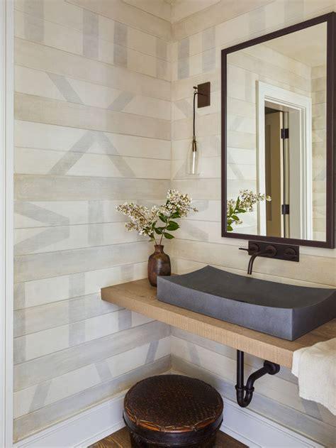floating wood vanity  gray sink  black faucet