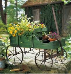 wooden country style amish green garden wagon plant