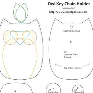printable owl template for sewing owl key pouch free sewing pattern craft patterns free