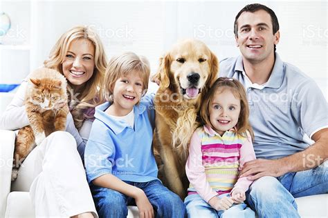 family photos with dogs portrait of a happy family with pets stock photo more