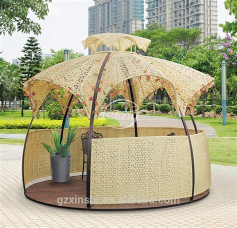 2015 Swimming Pool Pe Rattan Gazebo Wicker Led Light Outdoor Furniture Factory