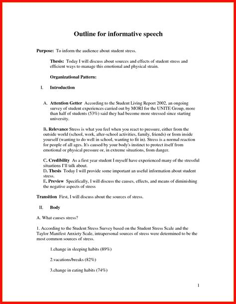 Cover Letter Informative Speech Outline Template by Informative Speech Outline Apa Exle