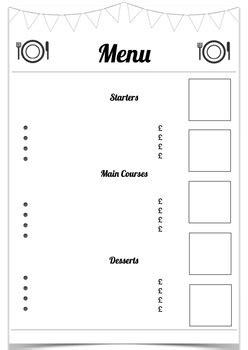 Blank Menu Template By Fun In The Sun Teachers Pay Teachers Blank Restaurant Menu Template