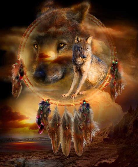 native american wolf spirit spirit of the wild series dream catcher wolfland