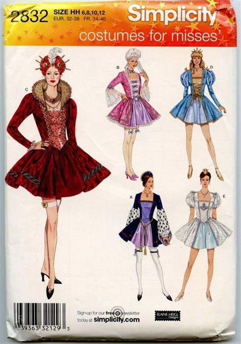 patterns sewing costumes simplicity 2832 halloween costume sewing pattern misses
