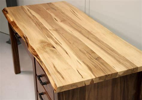 Custom Walnut & Maple Live Edge Desk  Live Edge Desk Amish