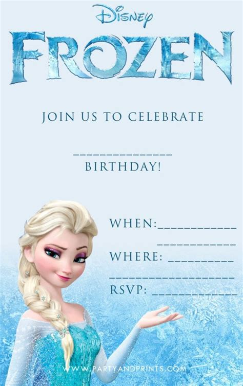 Printable Free Frozen Invitations | disney frozen birthday invitation template invitations