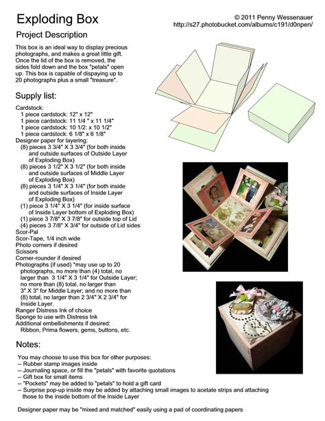 exploding box template exploding box page 1 crafts