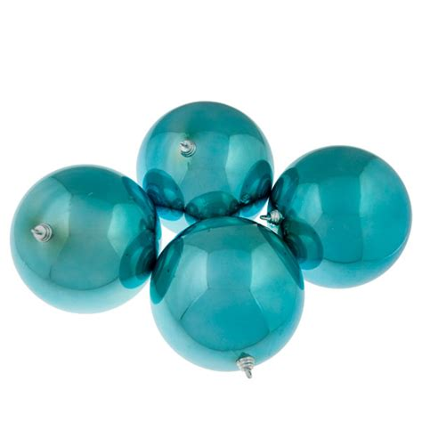 light turquoise baubles shiny shatterproof pack of 4 x