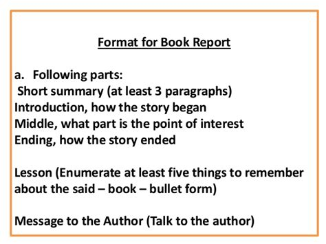 Parts Of A Book Report Middle School by Intro