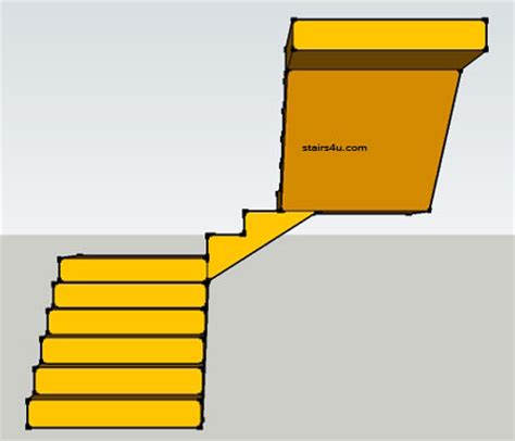 U Stairs With Double Landing Design