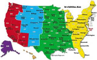 Time Zones Map by Current Dates And Times In U S States Map